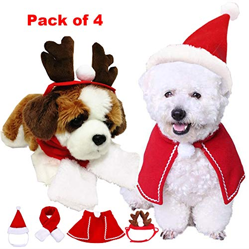 vannyster Cat Dog Christmas Costume Accessories, Santa Hat Scarf Cloak Reindeer Antlers Headgear for Kitten Puppy, Xmas Small Pet Outfit (Kittens And Christmas Puppies)