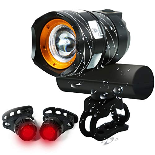 - USB Rechargeable Bike Light, 1200 Lumens Bicycle Headlight Free Bike Rear light, Super Bright T6 Cree LED Front Headlight Lamp Warning Taillight for Mountain, Road, Kids, City Cycling Safety