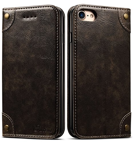 (iPhone 8 Case, iPhone 7 Case, SINIANL Leather Wallet Folio Case Book Design Flip Cover with Stand and ID Credit Card Slot Magnetic Closure for iPhone 8 /)