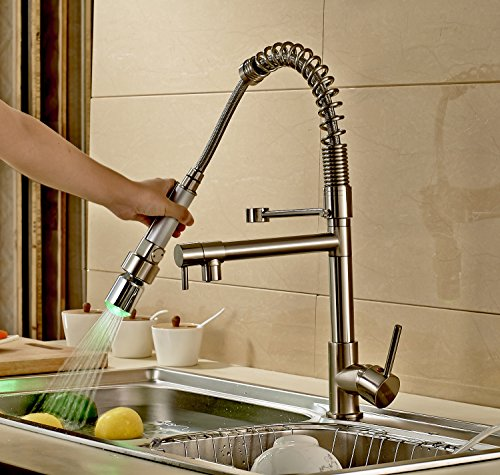 Rozinsanitary Contemporary Single Handle Two Spouts Kitchen Sink Faucet With Led Pull Out Sprayer Kitchen Faucet Brushed Nickel Amazon Com