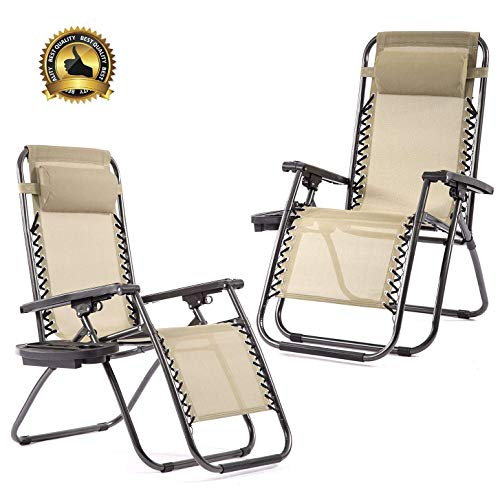 (BMS Set of 2 Zero Gravity Chairs Patio Reclining Folding Chairs w/Pillow Cup Holder BestMassage)