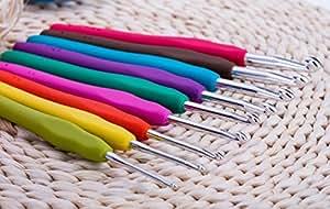 Crochet Hooks By Festival Hands - 9pcs Crochet Hook Set,Ergonomic Grip,Mom Gifts,Best Friend Gifts,Easy Grip Crochet Needles,Crochet hooks Ergonomic,Anniversary Gifts for Her