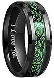 Crownal 6mm 8mm Blue/Green Carbon Fiber Black Celtic Dragon Tungsten Carbide Wedding Band Ring Engraved ''I Love You'' (8mm,9)