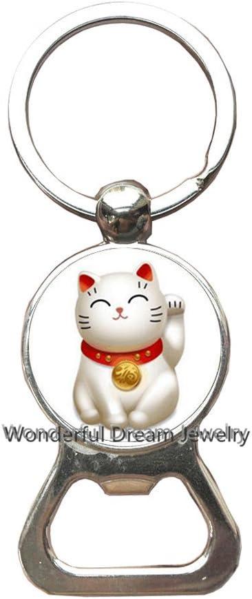Chinese Lucky Cat Maneki Neko Stainless Steel Keyring Keychain