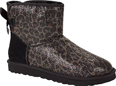 UGG Women's Mini Bailey Bow Glitter,Black,US ...