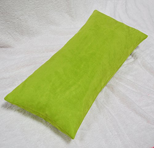 Creative Luxury Faux Suede Body Pillow Cover with Hidden Zipper 20 By 54, Lime (Bed Lime Green Throw)