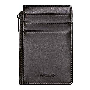 WALLID- Porta carte di credito portafoglio piccolo sottile – blocco rfid – porta badge bancomat tessere e patente (nero)