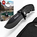 BearCraft Folding Knife in Matt Black inclusiveFREE eBook | Outdoor Survival Pocket Knife | Small one-Hand Knife with Stainless Steel Blade and Aluminum Handle| Perfect for Work Hiking Camping
