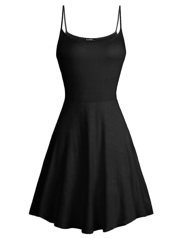 Black 14 FANSIC Womens Sleeveless Floral Printed Swing Sundress Spaghetti Strap Dresses