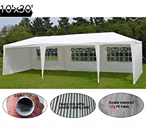 Quictent High-grade Gazebo Wedding Party Tent BBQ Canopy with Side Walls (10'x30' white 5walls)