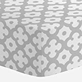 Carousel Designs French Gray Moroccan Tile Crib Sheet - Organic 100% Cotton Fitted Crib Sheet - Made in the USA