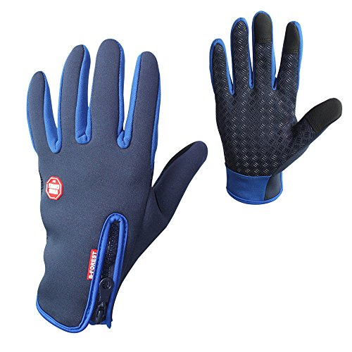 Windproof Sport Touchscreen Gloves Ski Cycling Fingers Warm Mitten for Men Women, BlueM