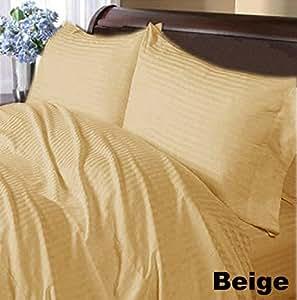 4piezas Juego de sábanas–-- 300ThreadCount, diseño de rayas UK matrimonio pequeña 100% algodón egipcio Extra profundo bolsillo (20Inche)–as1