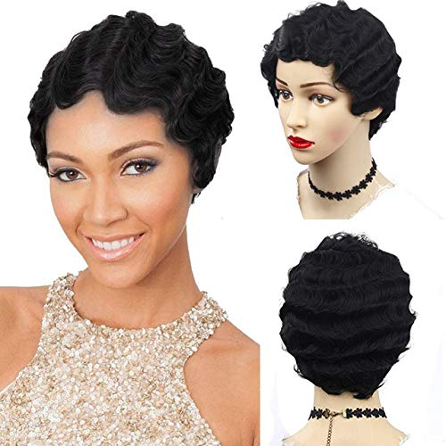 Short Finger Wave Curly Wigs for Black Women,African American Synthetic Mommy Wig By Janet ()