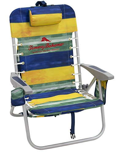 Tommy Bahama 4-Position Lace-Up Backpack Folding Beach Chair, Stripe