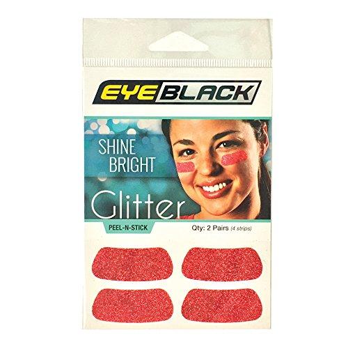 EyeBlack Red Softball Glitter Eye Black Strips, 2 Pair -