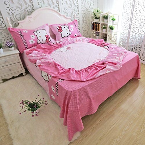 FADFAY Girls Pink Hello Kitty Bed Sheet Set 4 Piece Hello