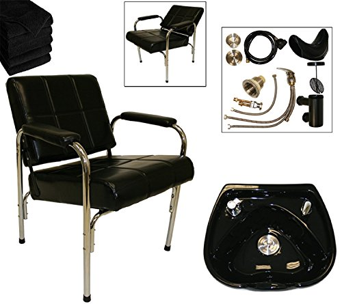LCL Beauty Shampoo Package: Autorecline Shampoo Chair & Heart Shaped Black Ceramic Shampoo Bowl