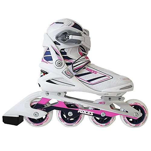 Womens Recreational Roller Skates (Roces 400802 Women's Model IZI Fitness Inline Skate, US 7, White/Blue/Pink)