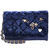 Dream Control Quilted Velvet Charm Cellphone Wristlet Wallet Trifold Purse Navy