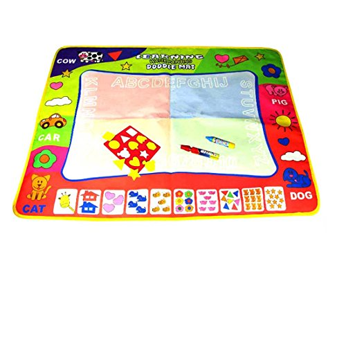 Magic Water Drawing Mat/Water Drawing Painting Mat(31.4in x 23.6in)with 4 Color,2 Magic Pens and 1 Cartoon Seal for Kids, Magnetic Water Drawing Learning Painting Doodle Scribble Boards
