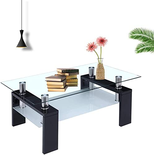RICA-J Glass Coffee Table, Rectangle Modern Side Coffee Table Glass Top with Lower Shelf Wooden Legs Living Room Furniture US Stock Black