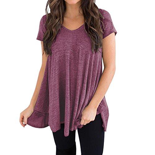 Grande Taille Tunique Ample T Violet Basse Femmes Shirt Haute T Irrgulire Courtes Shirt Manches Saihui Ample q6xBCwCO