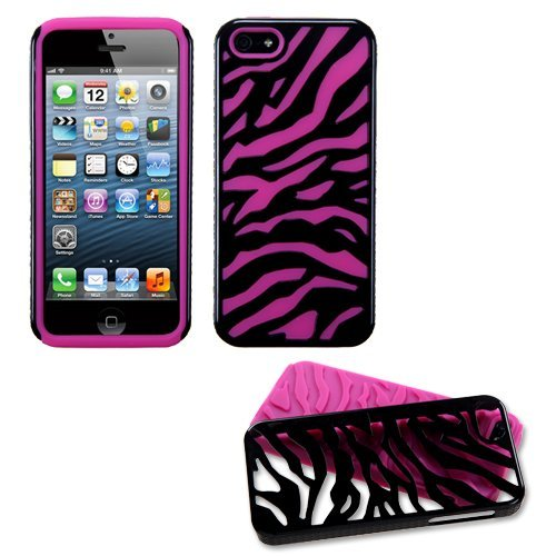 Black Zebra Hot Pink Fusion Dual Layer Apple iPhone 5 Hybrid Faceplate Cover Case Soft Rubber Protector Skin Hard Cover Case fits Sprint, Verizon, AT&T - Zebra Skin Hard Protector