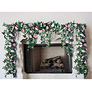 G-Tree 2pcs Artificial Flowers 8.04 FT Fake Plastic Fabric Silk Artificial Rose Flower Wisteria Ivy Hanging Vine Garland for Home Wedding Table Decoration (Dark Pink) 5