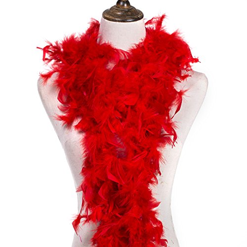 MeiHoyo 6ft 40g Colorful Feather Boas, Assorted Girls Feather Boa, Dress up Boa, Mardi Gras Boa, Feather Boas for Adult (Red-1PCS) 40g Chandelle Feather Boa