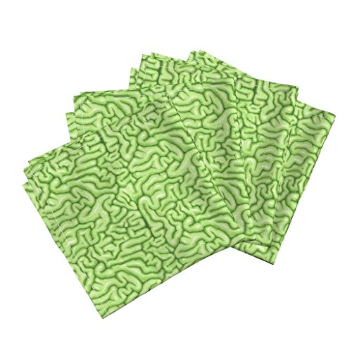 Roostery Zombie Organic Sateen Dinner Napkins Green Brains by Sufficiency Set of 4 Cotton Dinner Napkins Made