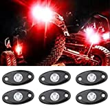 LED Rock Light Kits with 6 pods Lights for JEEP Off Road Truck Car ATV SUV Under Body Glow Light Lamp Trail Fender Lighting (Red)