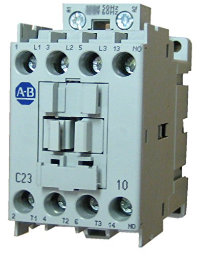 Open Coil - Allen Bradley 100-C23KJ10 3 pole, 23 AMP contactor with a 24 volt 50/60Hz AC coil and 1 normally open base mounted contact