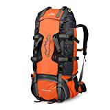 Vbiger 80L Backpack Water Resistant Backpacking Pack for Climbing, Hiking, Trekking, Mountaineering (Orange, 80L) For Sale