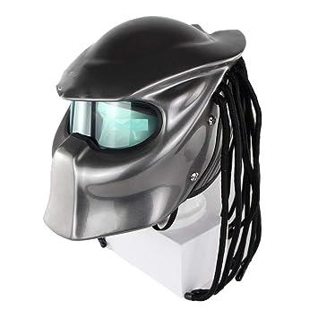 Universal Predator Full Face Mask Fibra De Carbono con Flecos Cascos De Motocicleta,M
