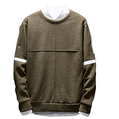 HYIRI Round Neck Loose,Men's Long Sleeved Sweater Bottoming T-Shirt (Girls Sleeved Turtleneck Long Ribbed)