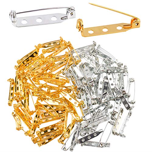 Jdesun 100 Pieces Bar Pins Brooch Pin Backs Safety Clasp, Gold and Silver(1Inch)