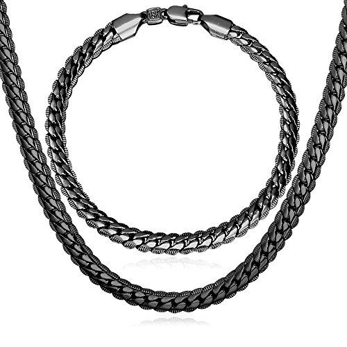 - U7 Men Gun Black Metal Jewelry Set 6MM Wide Snake Chain Necklace Bracelet Set (24