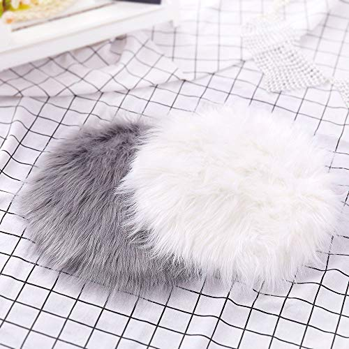 Rambling Soft Round Artificial Sheepskin Rug Chair Cover Artificial Wool Warm Hairy Carpet Seat for Bedroom,Livingroom,Indoor,Diameter:11.7''/15.6''/23.6'' by Rambling (Image #8)