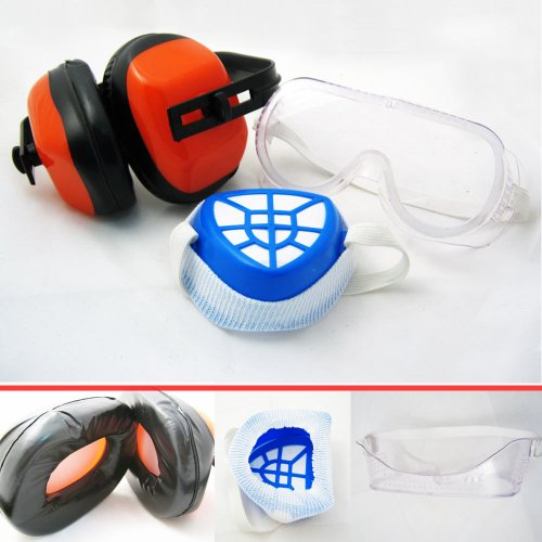 Protection Kit Dust Mask Ear Muff Safety Glasses 3pc !!