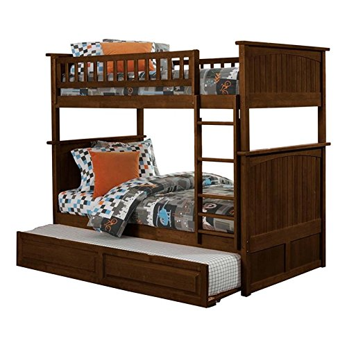 - Nantucket Bunk Bed with Raised Panel Trundle Bed, Twin Over Twin, Antique Walnut