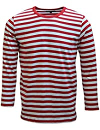 Mens 60's Retro Red & White Striped Long Sleeve T Shirt