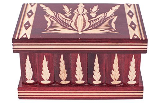 Jewelry And Puzzle Box 2 In 1 - Handmade Wooden Case With Hidden Key And Removable Compartments - Beautiful Classical Wooden Carved Jewelry Puzzle Box By Kalotart (Red)