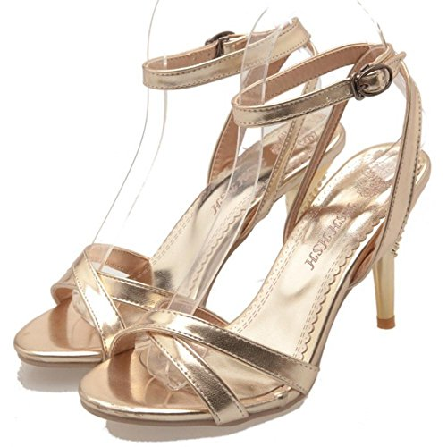 Women Sandals Fashion TAOFFEN Strap 63 Gold Shoes Ankle 1fUUdAq