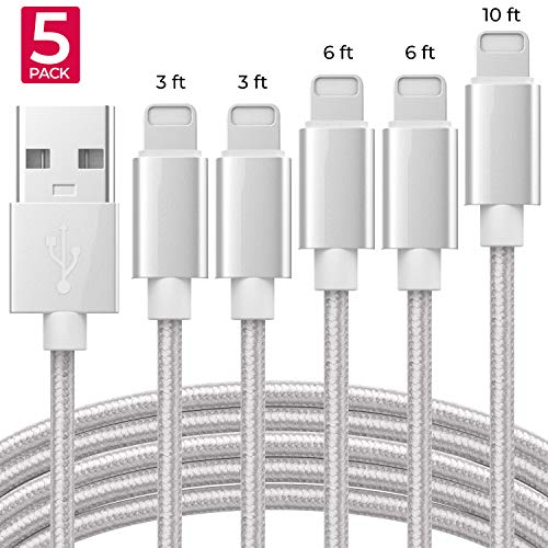 Apple MFi Certified iPhone Charger Lightning Cable Extra Long Nylon Braided USB Charging & Data Syncing Cord Compatible iPhone Xs Max XR X 8 8Plus 7 7Plus 6S 6S Plus SE iPad  [5 Pack] - Silver