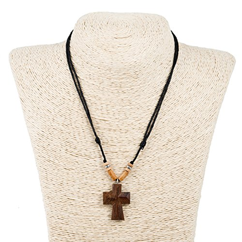 Natural Wood Cross Pendant on Adjustable Black Rope Cord Necklace with Wood Beads