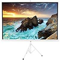 VIVO 100 Portable White Frame Indoor Outdoor Projector Screen, 100 Inch Diagonal Projection HD 4:3 Projection Pull Up Foldable Stand Tripod (PS-T-100W)