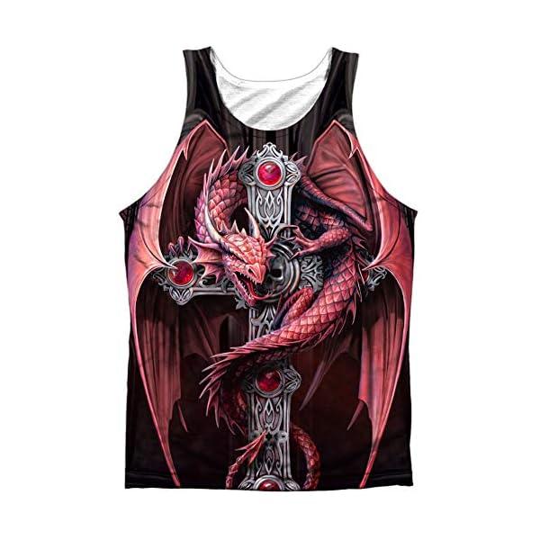 Gothic Dragon Guardian Front Print Tank Top Shirt