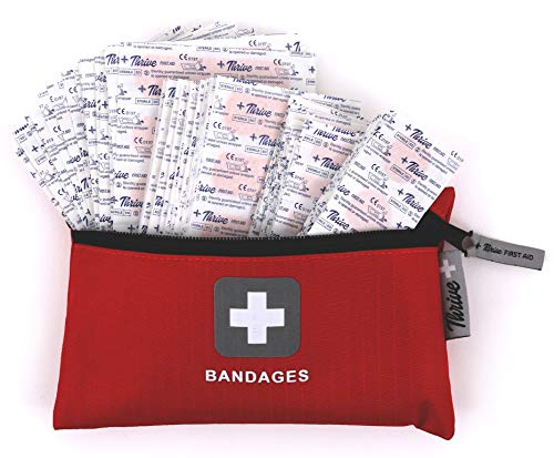 Adhesive Bandages - Pack of 305 Mixed Sizes Fabric Adhesive Bandages + Free Storage Bag. Tough and Flexible Cotton Elastic Fabric Strip Bands Aid Healing