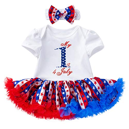 - perfectCOCO 4th of July Baby Girl Dress American Flag Bodysuit Tutu Lace Skirt Set Party Custume White